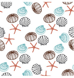 sea animals sketched seamless pattern marine life vector image