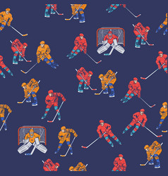 seamless pattern with hockey players graphics vector image