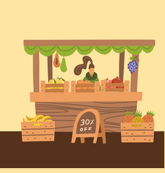 selling fresh fruits in market woman vector image