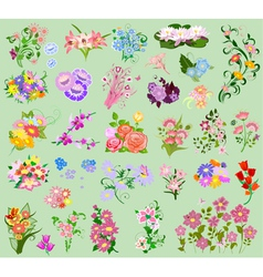 set flowers4 vector image