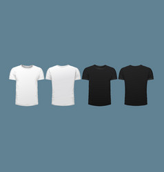 Set four t-shirts two black two white vector