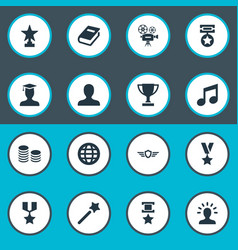 set simple trophy icons vector image