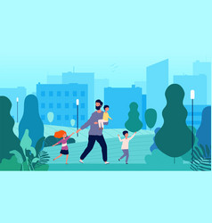 Single father lonely man walking with kids vector