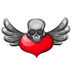 skull shape from red hearts vector image