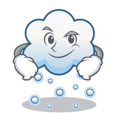 Smirking snow cloud character cartoon vector
