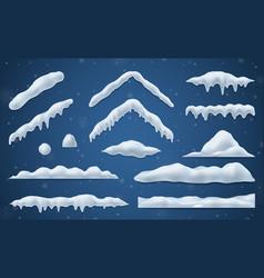 Snow caps realistic set vector
