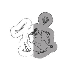 sticker contour of world with means of transport vector image