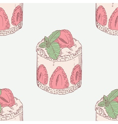 Strawberry cream cake with mint seamless pattern vector