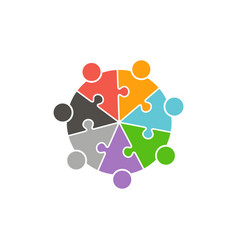 teamwork people circle in puzzle pieces logo vector image