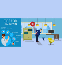 tips for back pain for businessman vector image