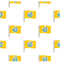 Yellow flag with the image of the globe pattern vector