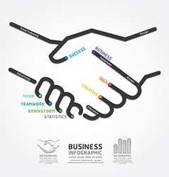 business handshake diagram line style template vector image vector image