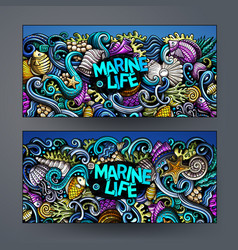 cartoon hand-drawn underwater life banners vector image