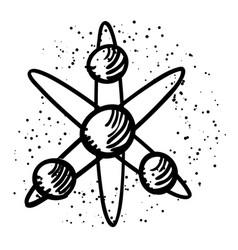 cartoon image of atom icon atom symbol vector image vector image