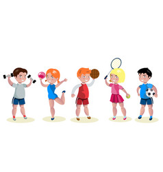 cartoon kids sports characters set vector image