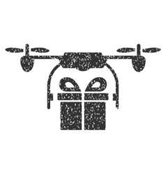 Drone Gift Delivery Grainy Texture Icon vector image vector image