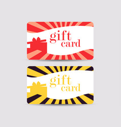 Gift card with gift box and rays vector