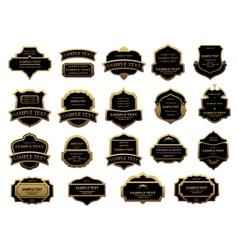 Golden and black vintage labels set vector image