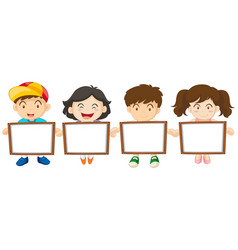 kids holding white board vector image