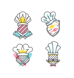 set of cafe and cooking shields vector image