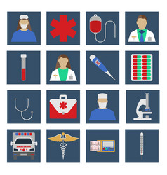set of medical object flat icon vector image