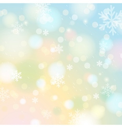 Bright shine background with bokeh and snowflakes vector image