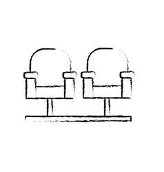 Figure cinema chair to watch movie scene vector