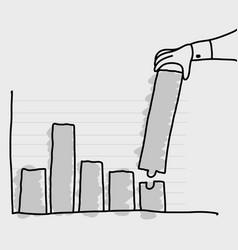 hand of businessman making graph bar longer vector image