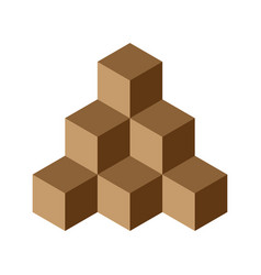 pyramid of brown chocolate cubes 3d vector image vector image