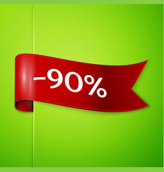 red ribbon with text ninety percent for discount vector image
