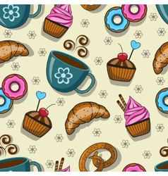 Seamless pattern with cups and sweets vector image
