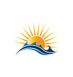 sunshine seascape logo vector image vector image
