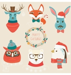 Christmas cute forest animals heads logo set vector image vector image