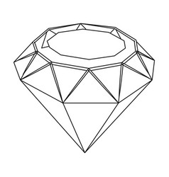 diamond icon in outline style isolated on white vector image vector image