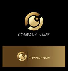 eye ball gold vision logo vector image