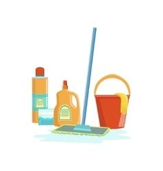 Floor Washing Household Equipment Set vector image
