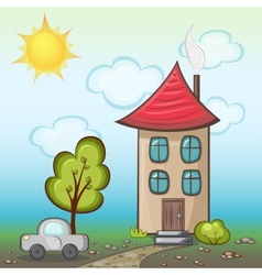 house with nature vector image