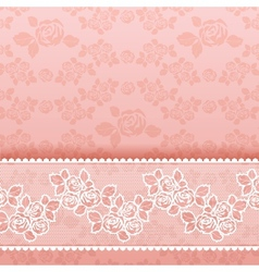 Roses on background Square lace pink vector image vector image