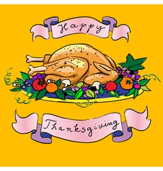 thanksgiving turkey sketch vector image vector image