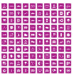 100 dispatcher icons set grunge pink vector