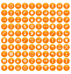 100 gear icons set orange vector