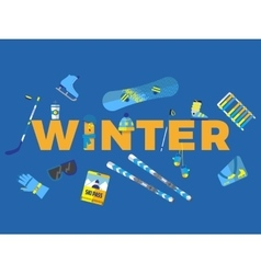 Abstract with word winter and icons vector