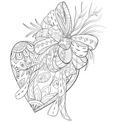 adult coloring bookpage a cute heart with bow vector image