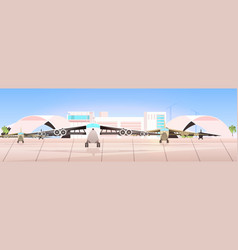 airport terminal with airplanes waiting for take vector image