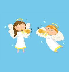 angels with trumpets playing music boy and girl vector image