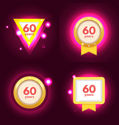 anniversary 60 icons set vector image