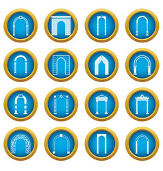arch set icons blue circle set vector image