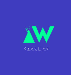 aw letter logo design with negative space concept vector image