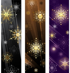 Banner with golden snowflakes vector