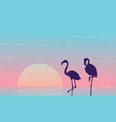 beauty landscape with flamingo silhouette on lake vector image